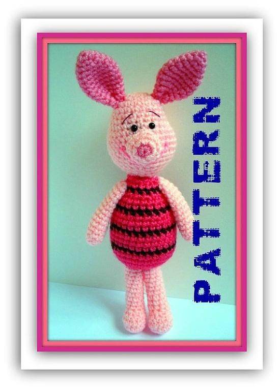 PDF Piglet Amigurumi Crochet Pattern #pattern #amigurumi #crochet #crocheted #piglet #winnie #disney