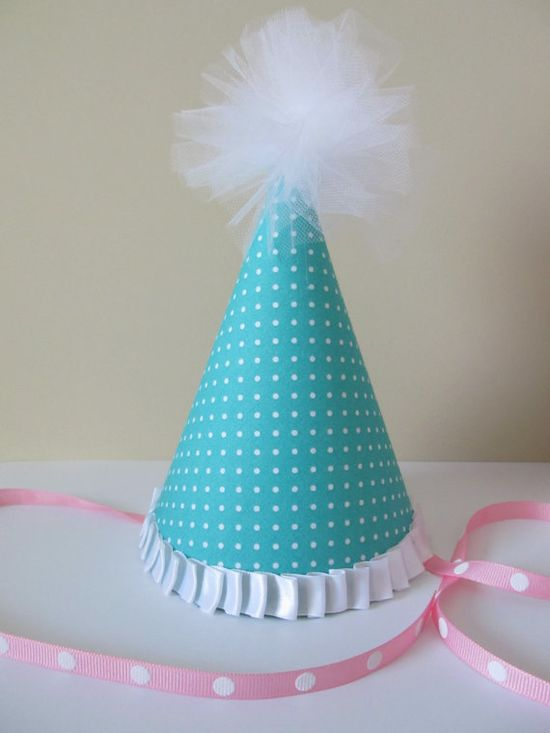 Customized fabric party hats on Etsy for only $9.