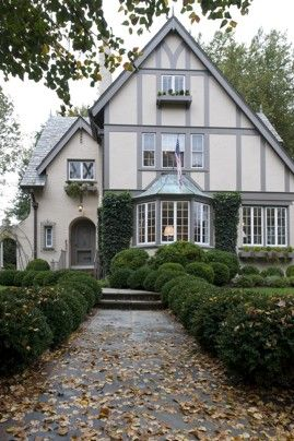 Perfect colors!  Tudor style transformation discussed in article via Washington Post re taking the interior from dark and dingy to Gustavian light and airy. The exterior of Linda Bond's French manor house in Chevy Chase.  John McDonnell / The Washington Post