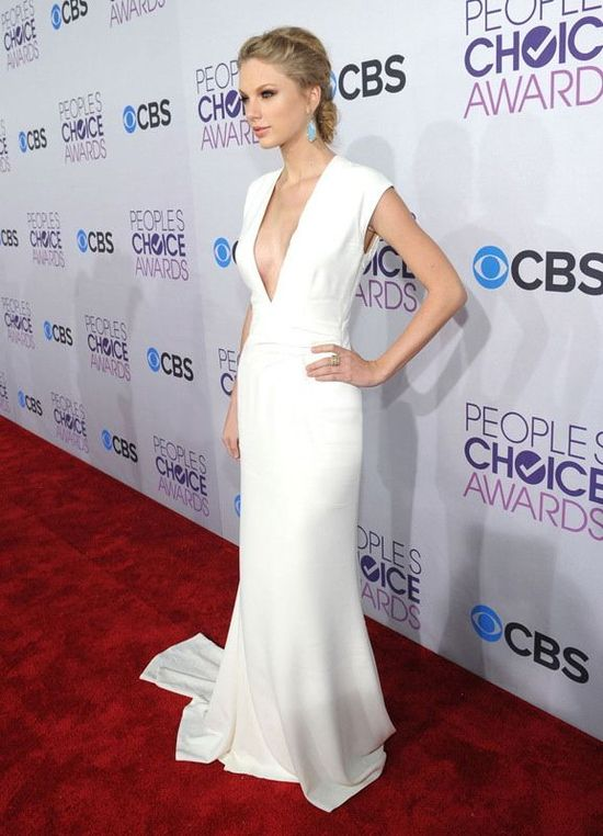 Celebrity Style - Form fitting Plunging Neckline, Floor length - White, Celebrity Dress