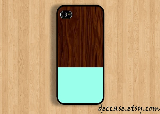 IPHONE 5 CASE - Wood texture and mint - iPhone 4 case,iPhone 4S case,iPhone caseHard Plastic Case Rubber Case. $16.00, via Etsy.