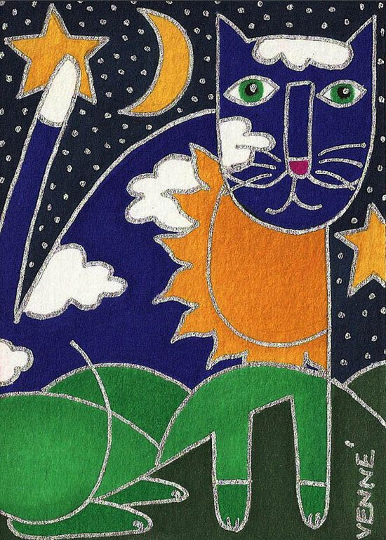 Needlepoint canvas. Night Cat by David Venne needlepoint. Fun cat canvas!