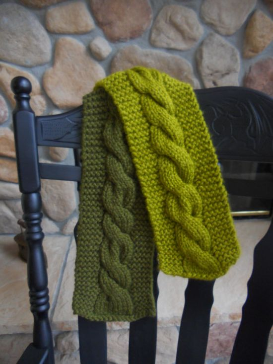 Green Cable Knit Scarf Two Tone by CrisCreationStation on Etsy, $25.00