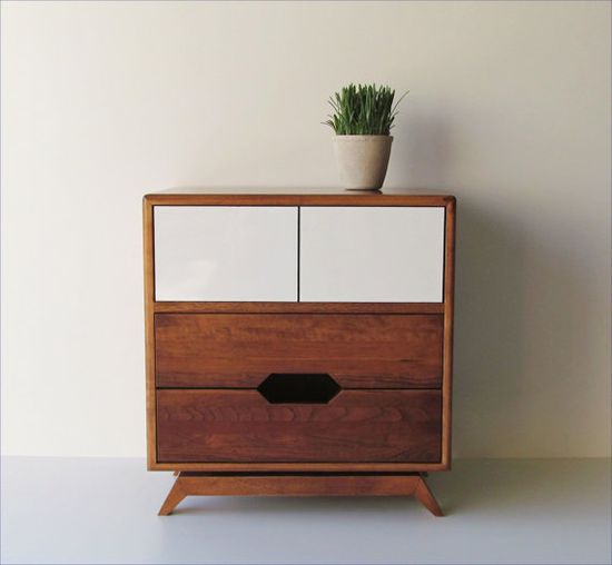 Mid-Century Style Bedside Table Made From Reclaimed Wood With Hidden Compartment and Push-To-Open Doors
