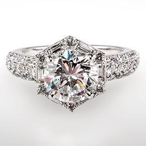 Hexagon Halo Diamond Engagement Ring 14k White Gold
