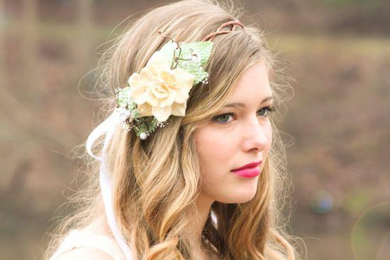 natural pine cone rose floral hair crown 'Take my breath away' -$35.00