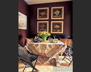 Linden Blue Blog: Dining tablecloth.  Room designed by Alessandra Branca