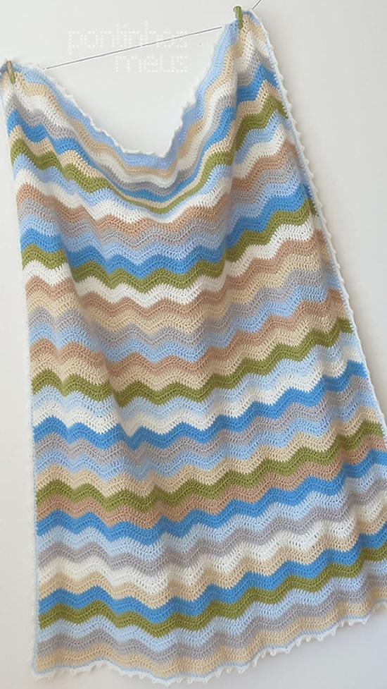 Crochet baby blanket  boy ripple by pontinhosmeus on Etsy, €40.00