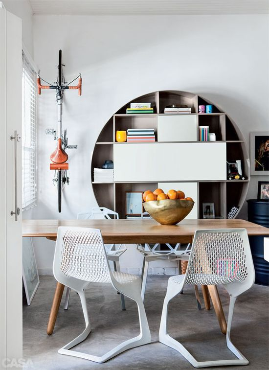 round bookcase.