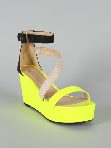 Neon Strappy Wedge
