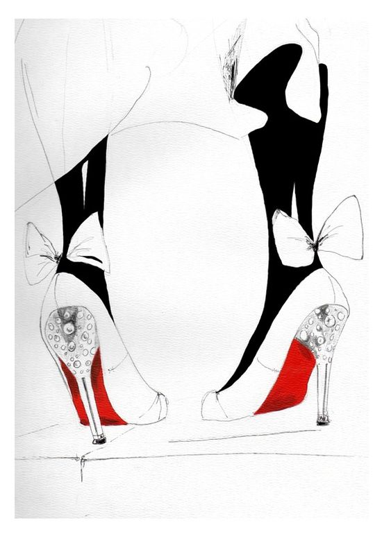 Watercolor Fashion Illustration shoes black and red art print