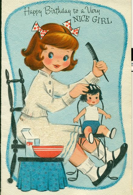 vintage cute Happy Birthday card