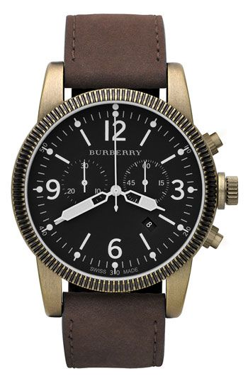 Burberry :: traditional vintage styled chronograph watch. features include a brown antique look leather strap with brushed antique gold case and bold black dial.  - white luminous numbers and indexes