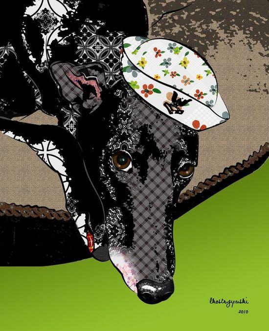 Athena Greyhound Pop Art Print Whippet Art Dog by PopDogDesigns