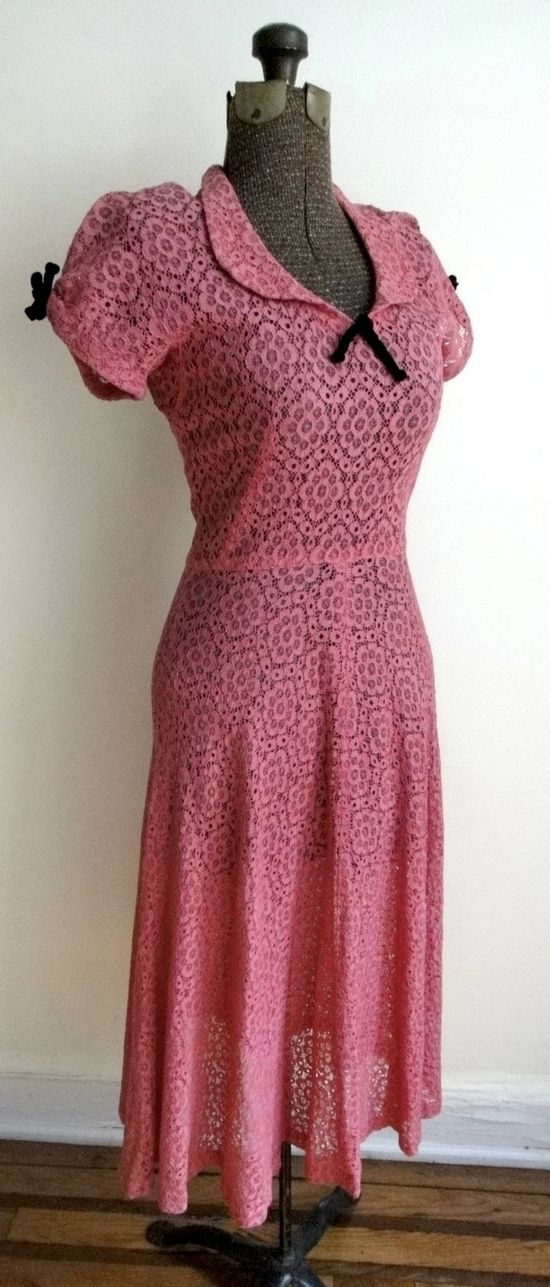 1940s Magenta Cotton Lace Day Dress with Velveteen Bows ~