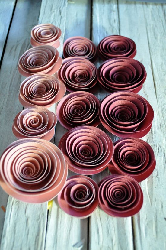 Paper Flowers Ombre pink  Paper Flowers Wedding by lillesyster, $15.00