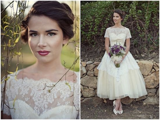 beautiful make up + vintage wedding dress