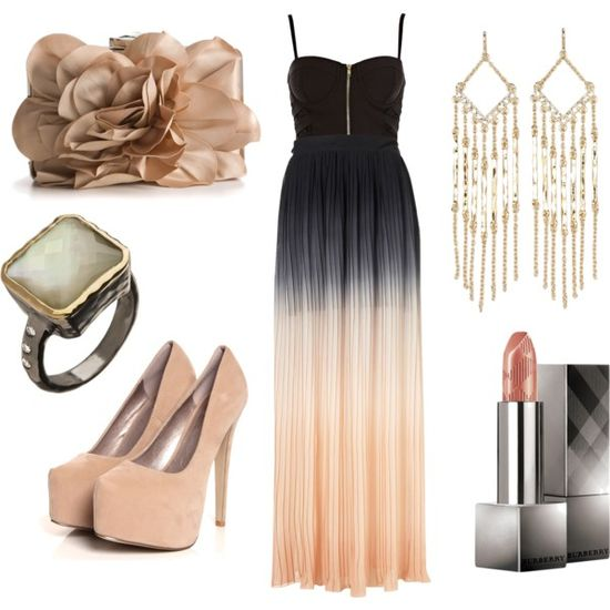 Ombre Maxi Skirt, Floral Bag & Fringe Earring by angiecarlu on Polyvore