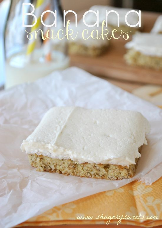 Banana Snack Cakes- easy and delicious dessert that makes a large pan! The frosting alone is to die for! #banana #dessert www.shugarysweets...