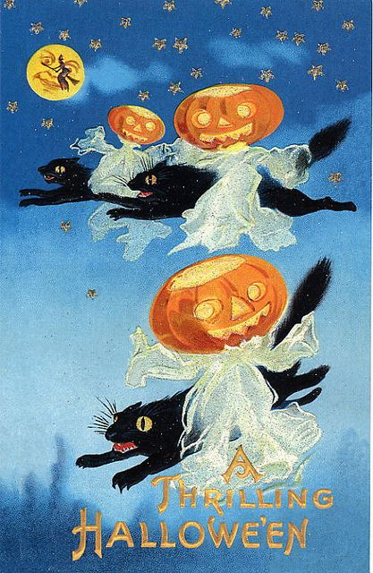 Vintage Old Halloween Postcard with Black Cats and Ghosts