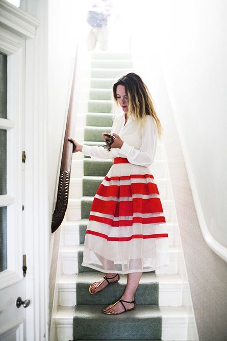 stripes. #fall #winter #outfit #spring #summer #skirt skirts