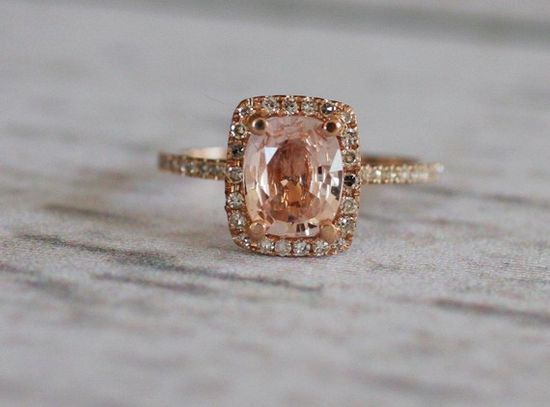 Peach Champagne Sapphire and rose gold. Because a girl can dream.