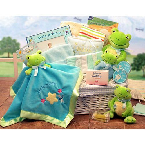 Frog themed baby gift basket