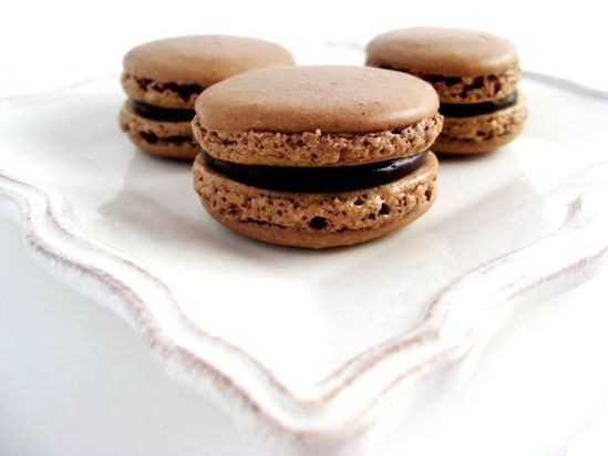 Chocolate Macarons with Chocolate Caramel Ganache
