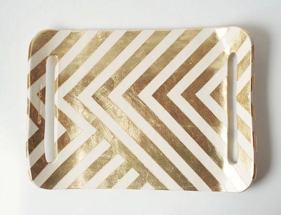 Gold Zag Tray by upintheairsomewhere on Etsy, $98.00