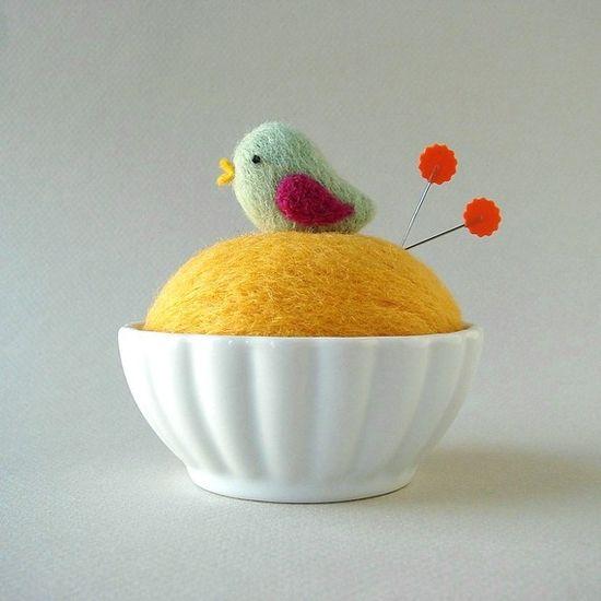 felted birdie pincushion