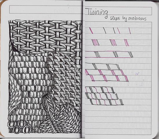 Twining-Tangle Pattern by molossus, who says Life Imitates Doodles, via Flickr