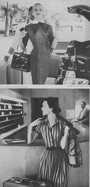 Two femininely lovely striped looks from June, 1956. #vintage #fashion #1950s #dress
