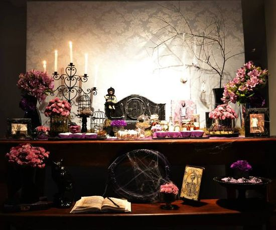 Gorgeous dessert table at a Halloween Party!  See more party ideas at CatchMyParty.com!  #Halloween #partyideas