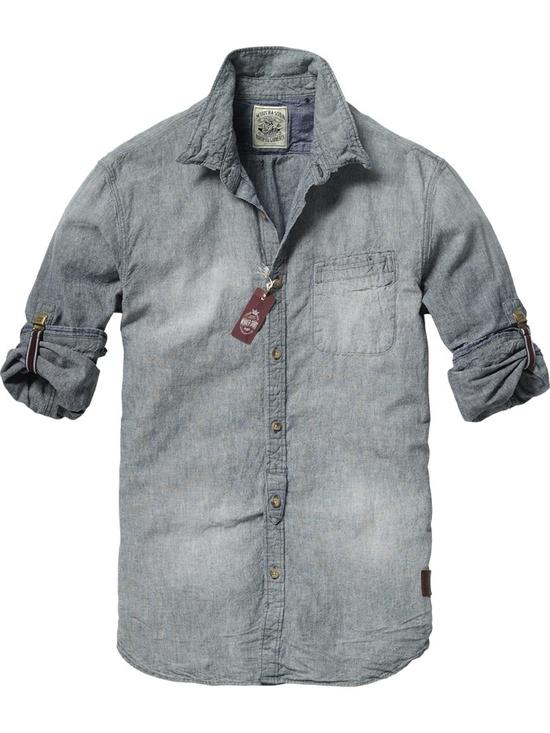 Japanese styled long-sleeved chambray shirt