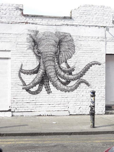 Octo elephant street art