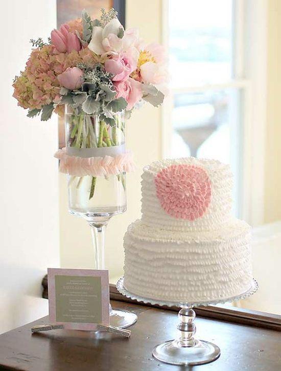 Vintage baby shower - love the grey and pink flower arrangement