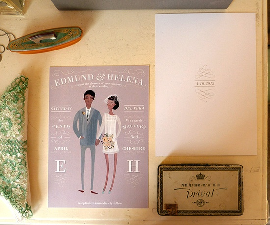 This custom portrait wedding stationery is oh-so-sweet.
