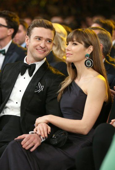 Justin Timberlake gave wife Jessica Biel a loving glance during the 2013 Grammys in LA