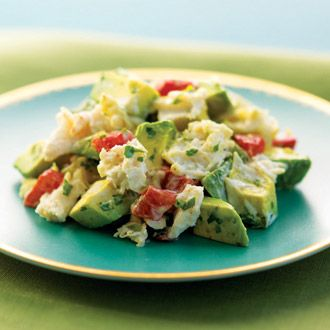 Crab and Avocado Salad by southbeachdiet: 230 calories. Great with steamed shrimp instead of crab! #Salad #Crab #Avocado #southbeachdiet