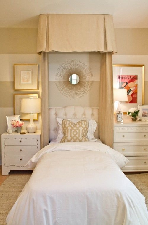 Gold and white bedroom
