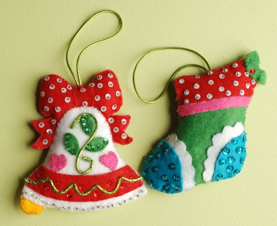 Vintage Christmas Ornaments Felt Sequins Bell Stocking  AWESOME. $12.00, via Etsy.