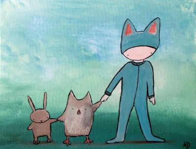 Original Illustration Painting – Best Friends