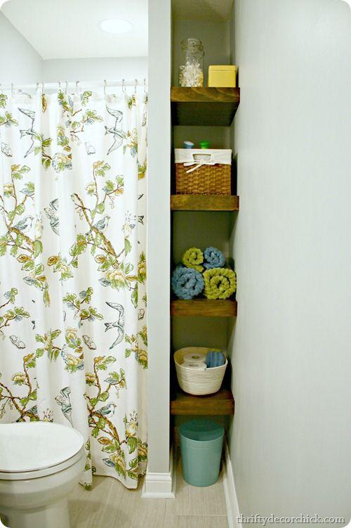 wood shelves in bathroom  @thriftydecorchick.com