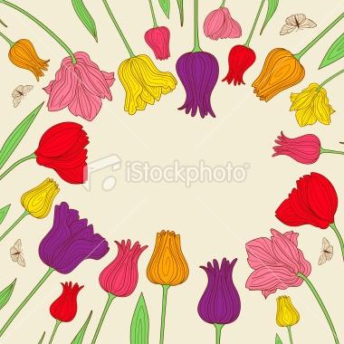 line work / design flowers tulips