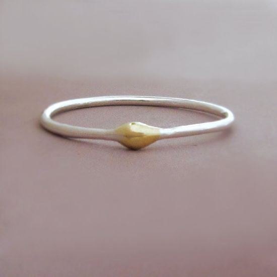 Sterling Silver and 22k Gold Stacking Ring  Rain by esdesigns