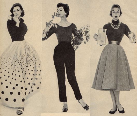 1950's Fashion. Picture on the right: Lightweight sweater tucked in, high neck, with pearls.