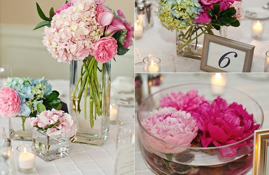 flower arrangements in pink
