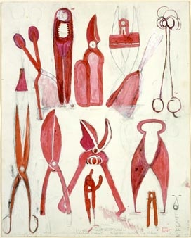 Louise Bourgeois - Untitled 1986 watercolour, ink, oil, charcoal and pencil on paper