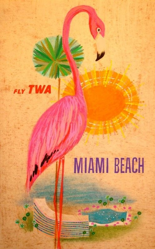 Miami * TWA  vintage travel poster