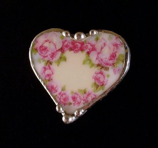 Victorian rose china pin brooch